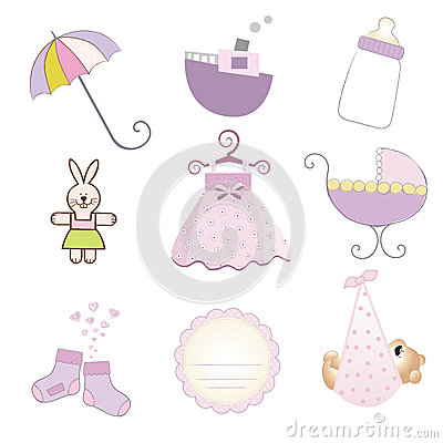 Baby girl items set in vector format
