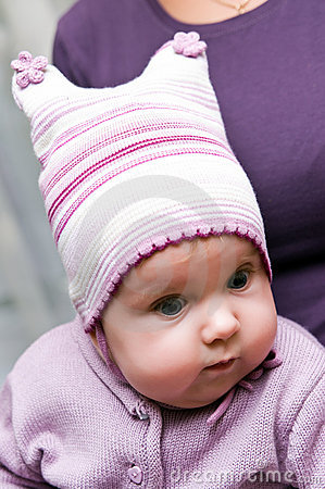 Baby girl with knit hat