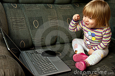 Baby Girl and Laptop