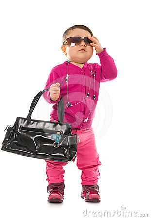 Baby girl model with sunglasses
