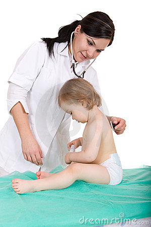 Baby girl with pediatrician