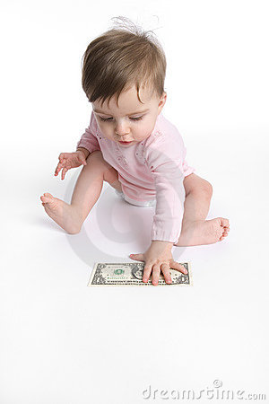Baby girl picking up a dollar
