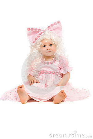 Baby girl in a pink dress