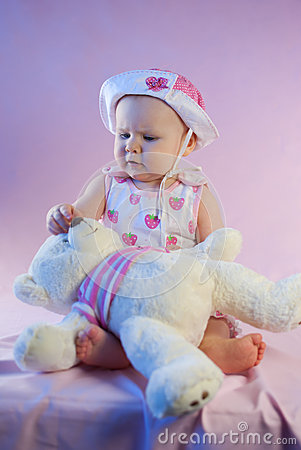 Baby girl pink teddy bear