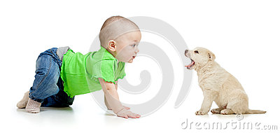 Baby girl playing with puppy dog
