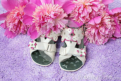 Baby girl s shoes and flowers