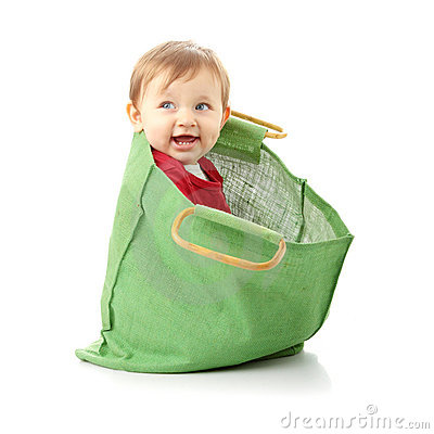 Baby Girl In Shopping Bag Stock Image Image 12476371