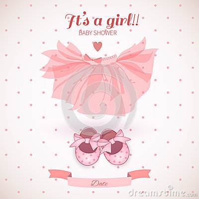 Free Baby Girl Shower Card Stock Photo - 44496810