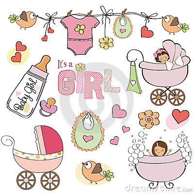Baby girl shower elements set