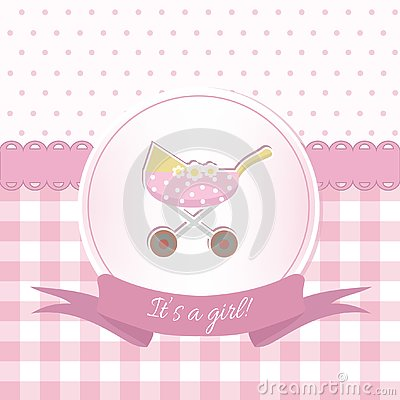 Free Baby Girl Shower Or Arrival Card With A Pram. Flat Design Royalty Free Stock Image - 126660086