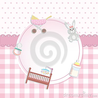 Free Baby Girl Shower Or Arrival Card With A Pram, Rabbit Toy, Bottle Stock Photo - 126660100