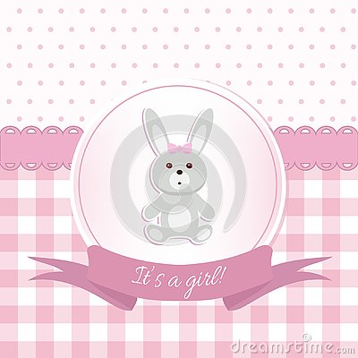 Free Baby Girl Shower Or Arrival Card With A Rabbit Toy. Flat Design Stock Image - 126660071