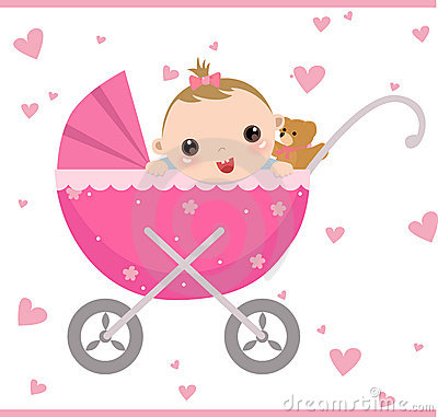 Baby girl sitting in carriage