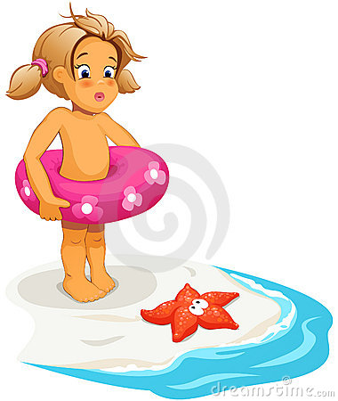 Baby girl and starfish on beach