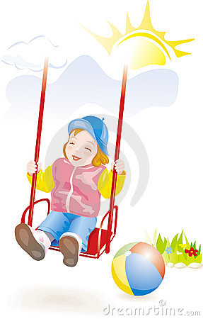Baby girl on swing. Vector