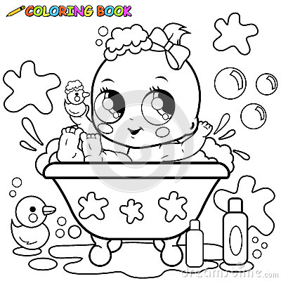 Baby girl taking a bath coloring page stock vector image for Baby toys coloring pages