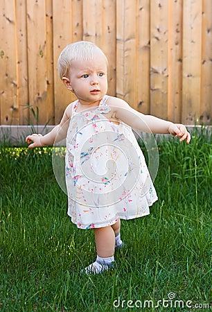 Baby Girl Trying To Walk Stock Photo - Image: 42522663