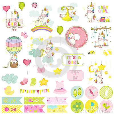 Free Baby Girl Unicorn Scrapbook Set. Decorative Elements Stock Photos - 71076023