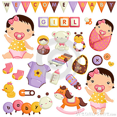 Free Baby Girl Vector Set Royalty Free Stock Photo - 49289065