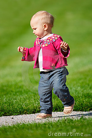 Baby Girl Walking Alone