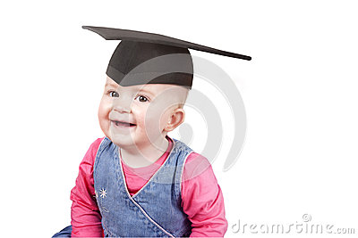 Baby girl wearing a mortar board hat