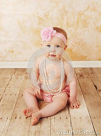 Free Baby Girl Wearing Pearls Stock Photo - 20119370