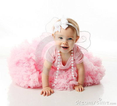 Free Baby Girl Wearing Pettiskirt Tutu And Pearls Royalty Free Stock Photos - 17351088