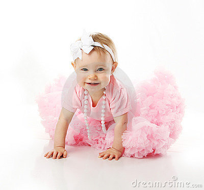 Baby girl wearing pettiskirt tutu crawling