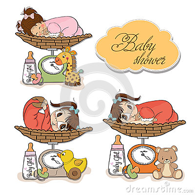 Baby girl on on weighing scale, items set