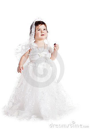 Baby Girl In A White Wedding Dress Royalty Free Stock Photo ...