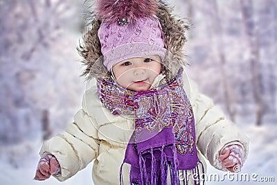 Baby girl at winter
