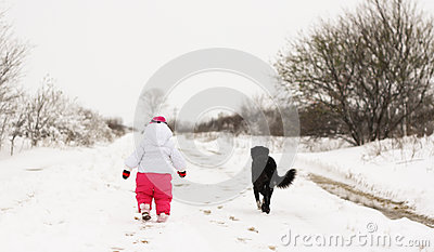 Baby girl in wintertime