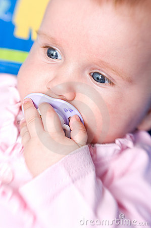 Free Baby Girl With Pacifier Royalty Free Stock Photos - 15531068