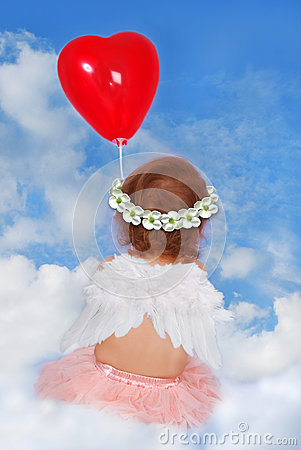 Free Baby Girl With Wings Sitting On Cloud With Balloon Stock Image - 37649041