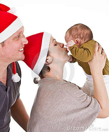 Baby girls first christmas time
