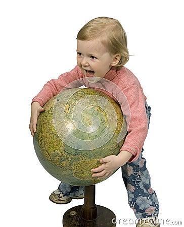 Baby and globe