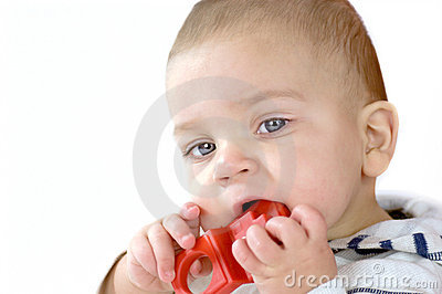 Baby gnawing red toy