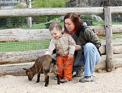 Baby and goat