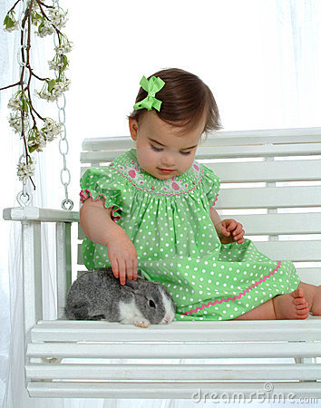 Baby in Green and Bunny
