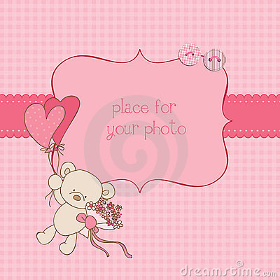 Free Baby Greeting Card With Photo Frame Royalty Free Stock Photography - 21870537