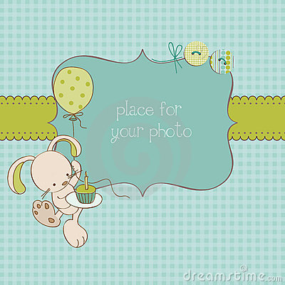 Free Baby Greeting Card With Photo Frame Royalty Free Stock Image - 21933046