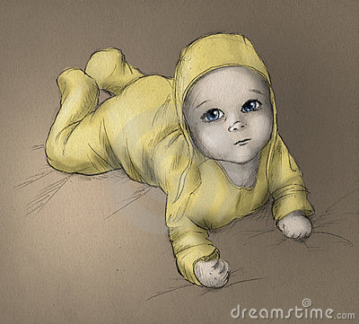 Baby - hand drawn sketch - color