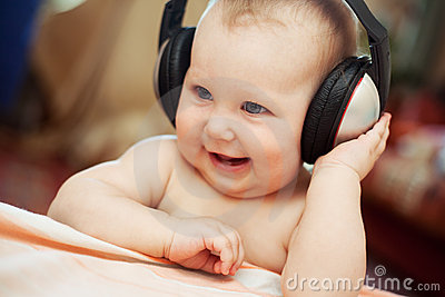 Baby with headphone
