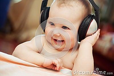 Baby with headphone
