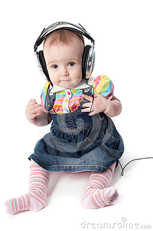 Baby in headphones