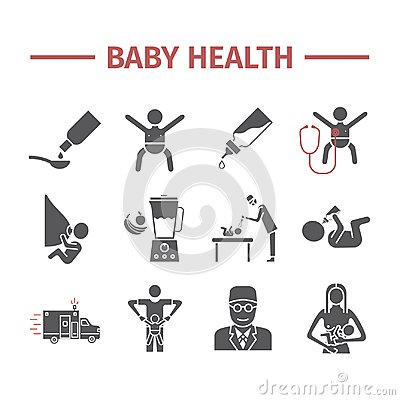 Free Baby Health. Medicine Web Line Icons. Vector Signs. Stock Image - 117310951
