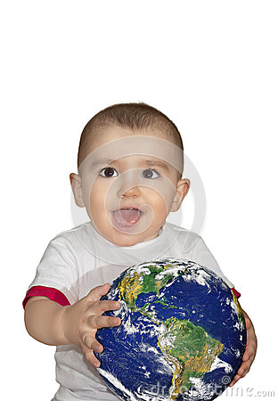 Baby holding the Earth