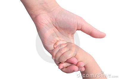 Baby holding mother s hand