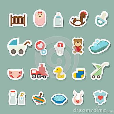 Free Baby Icons Set Royalty Free Stock Images - 44803109