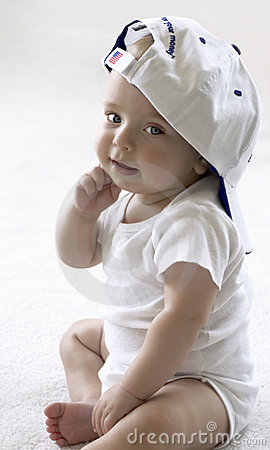 Free Baby In A Baseball Cap Stock Image - 652721